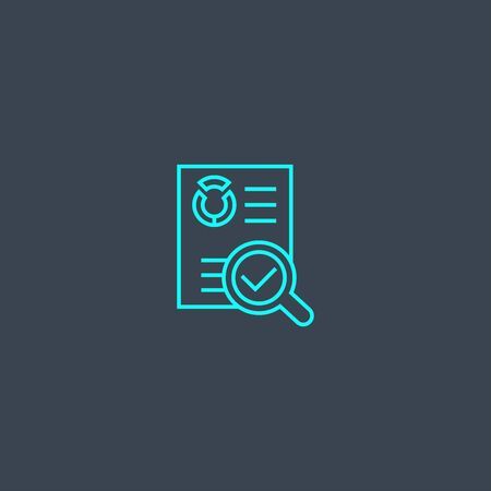 audit concept blue line icon. Simple thin element on dark background. audit concept outline symbol design. Can be used for web and mobile UI