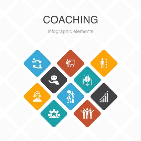 coaching Infographic 10 option color design.support, mentor, skills, training simple icons