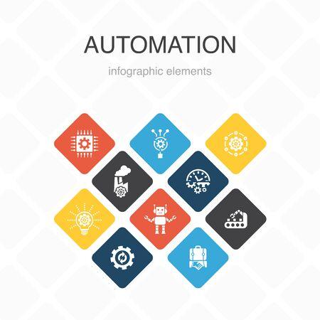Automation Infographic 10 option color design.productivity, technology, process, algorithm simple icons 版權商用圖片 - 132646924