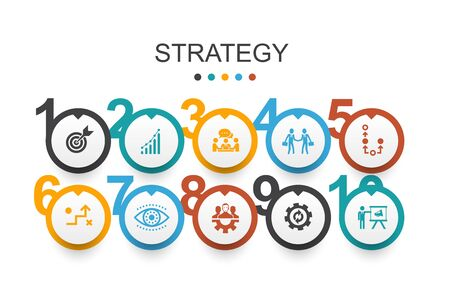 Strategy Infographic design template goal, growth, process, teamwork simple icons