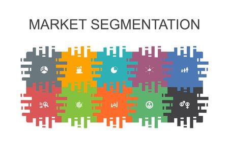 market segmentation cartoon template with flat elements. Contains such icons as demography, segment, Benchmarking, Age group