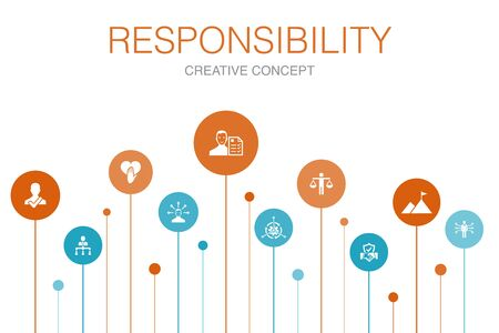 responsibility Infographic 10 steps template.delegation, honesty, reliability, trust simple icons..