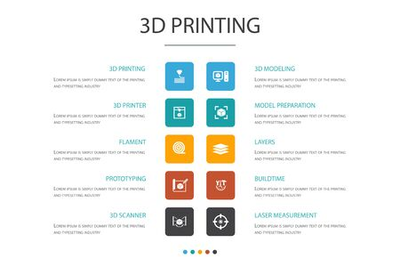 3d printing Infographic 10 option concept.3d printer, filament, prototyping, model preparation simple icons