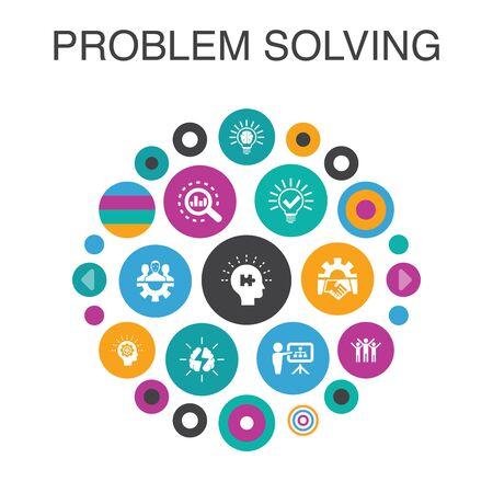 Résolution de problèmes Concept de cercle d'infographie. Analyse des éléments de l'interface utilisateur intelligente, idée, remue-méninges, travail d'équipe Vecteurs