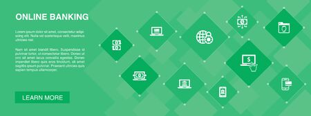 online banking banner 10 icons concept.funds transfer, mobile banking, online transaction, digital money simple icons