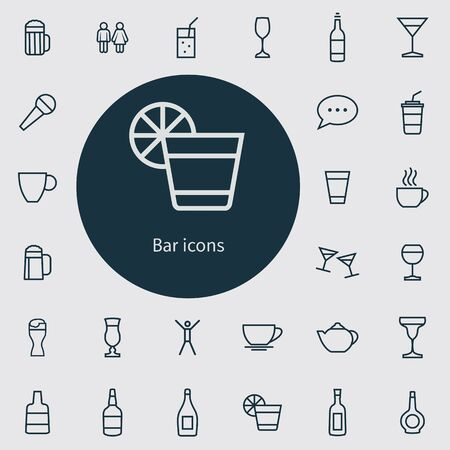 bar outline, thin, flat, digital icon set for web and mobile