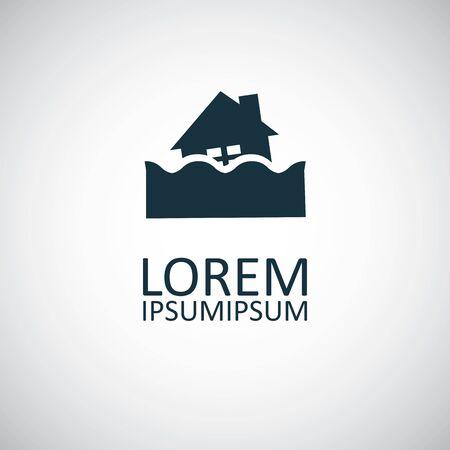 flood insurance icon, on white background.