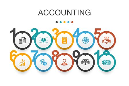 Accounting Infographic design template.Asset, Annual report, Net Income, Accountant simple icons Ilustração