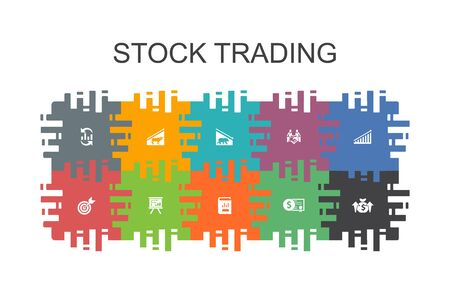 stock trading cartoon template with flat elements. Contains such icons as bull market, bear market, annual report, target