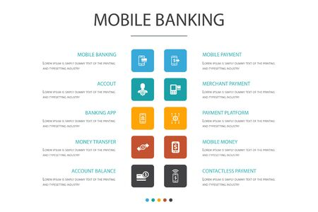 Mobile banking Infographic cloud design template.account, banking app, money transfer, Mobile payment simple icons