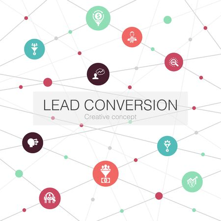 lead conversion trendy web template with simple icons. Contains such elements as sales, analysis, prospect, customer .. Illustration