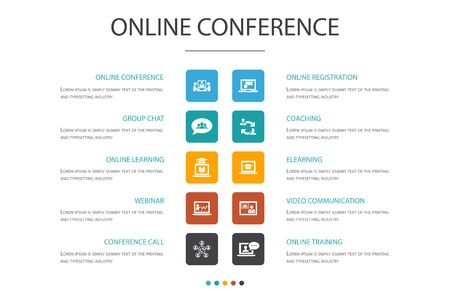 online conference Infographic cloud design template.group chat, online learning, webinar, conference call simple icons Illustration