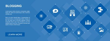 blogging banner 10 icons concept.social media, Comments, Blogger, digital content simple icons