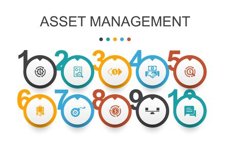 asset management Infographic design template.audit, investment, business, stability simple icons