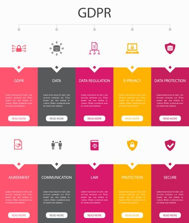 GDPR Infographic 10 option UI design.data, e-Privacy, agreement, protection simple icons