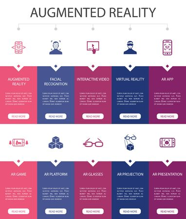 Augmented reality Infographic 10 option UI design.Facial Recognition, AR app, AR game, Virtual Reality simple icons
