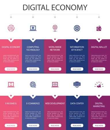 Digital economy Infographic 10 option UI design.computing technology, e-business, e-commerce, data center simple icons
