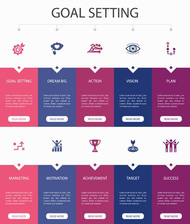 goal setting Infographic 10 option UI design.dream big, action, vision, strategy simple icons Illustration