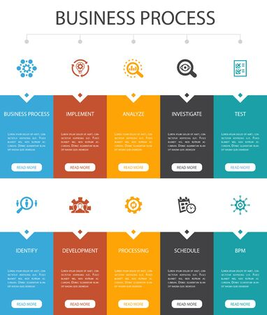 Business process Infographic 10 option UI design.implement, analyze, development, Processing simple icons