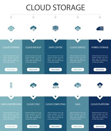 Cloud storage Infographic 10 option UI design.Cloud Backup, data center, Hybrid Storage, Data Compression simple icons