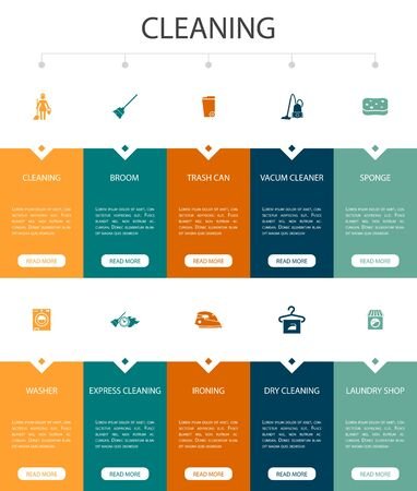 Cleaning Infographic 10 option UI design.broom, trash can, sponge, dry cleaning simple icons