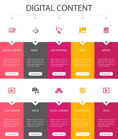 digital content Infographic 10 option UI design.vector image, media, video, social content simple icons