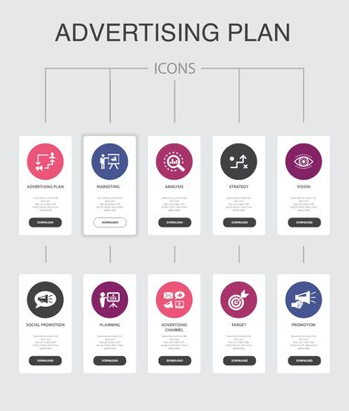 Advertising Plan Infographic 10 steps UI design.marketing, strategy, planning, target simple icons