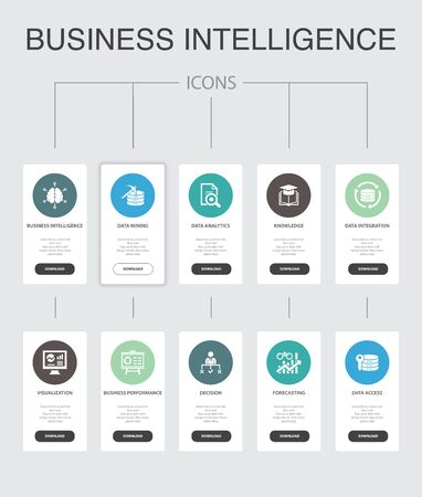 Business intelligence Infographic 10 steps UI design.data mining, knowledge, visualization, decision simple icons Ilustração