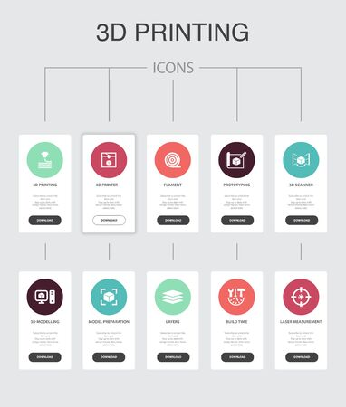 3d printing Infographic 10 steps UI design.3d printer, filament, prototyping, model preparation simple icons 向量圖像