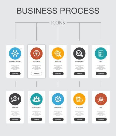 Business process Infographic 10 steps UI design.implement, analyze, development, Processing simple icons