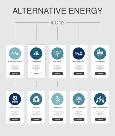 Alternative energy Infographic 10 steps UI design.Solar Power, Wind Power, Geothermal Energy, Recycling simple icons 向量圖像