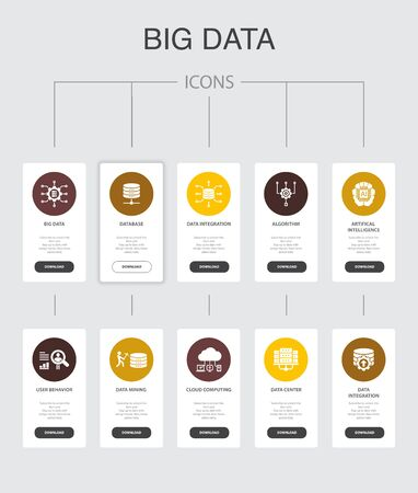Big data Infographic 10 steps UI design.Database, Artificial intelligence, User behavior, Data center simple icons