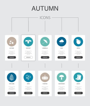 Autumn Infographic 10 steps UI design.oak nut, rain, wind, pumpkin simple icons