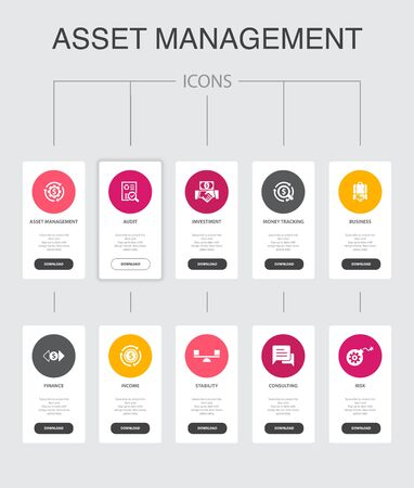 asset management Infographic 10 steps UI design.audit, investment, business, stability simple icons Ilustração