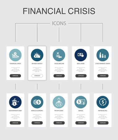 financial crisis nfographic 10 steps UI design.budget deficit, Bad loans, Government debt, Refinancing simple icons Illustration