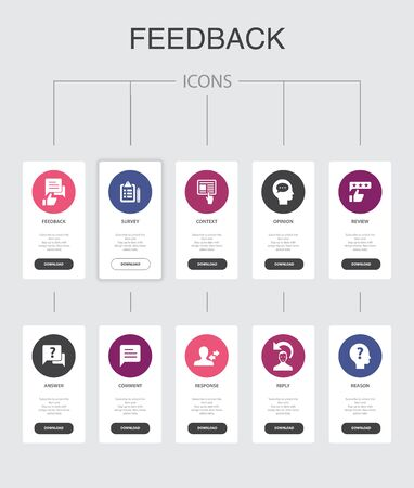 feedback nfographic 10 steps UI design.survey, opinion, comment, response simple icons