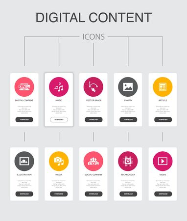 digital content Infographic 10 steps UI design.vector image, media, video, social content simple icons  イラスト・ベクター素材