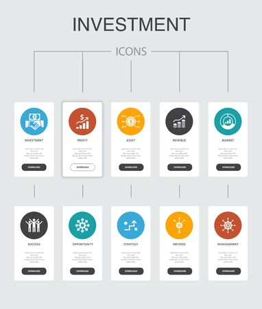 Investment nfographic 10 steps UI design.profit, asset, market, successsimple icons Çizim