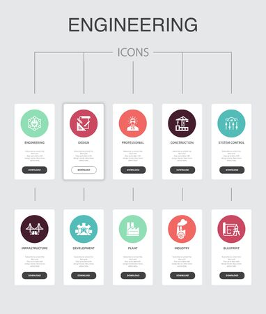 engineering nfographic 10 steps UI design.design, professional, System Control, Infrastructure simple icons 版權商用圖片 - 132906410