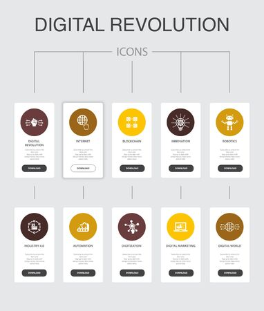 digital revolution Infographic 10 steps UI design.internet, blockchain, innovation, industry 4.0 simple icons Ilustração