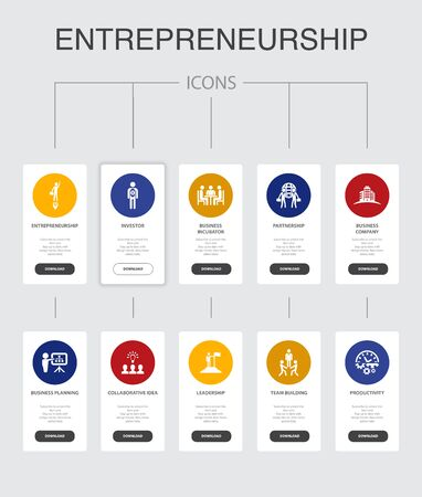 Entrepreneurship nfographic 10 steps UI design.Investor, Partnership, Leadership, Team building simple icons