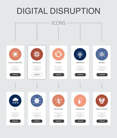 digital disruption Infographic 10 steps UI design.technology, innovation, IOT, digitization icons simple icons Illustration