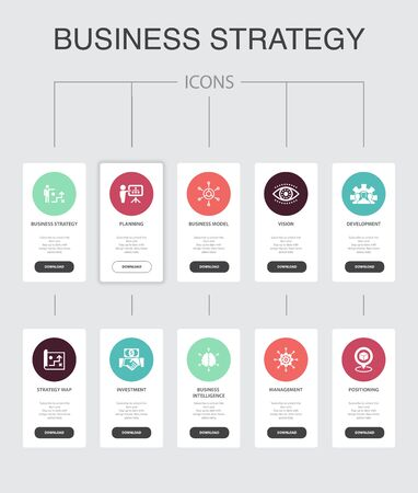 Business strategy Infographic 10 steps UI design.planning, business model, vision, development simple icons
