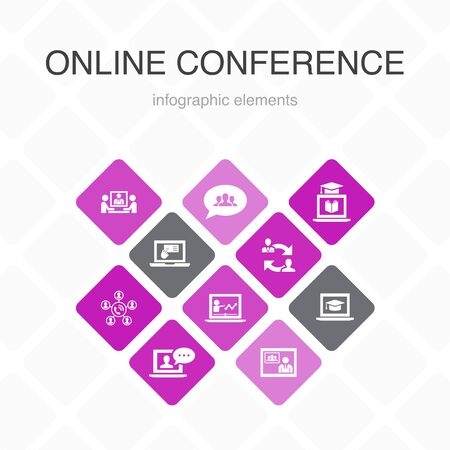 online conference Infographic 10 option color design.group chat, online learning, webinar, conference call simple icons