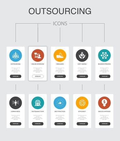 outsourcing Infographic 10 steps UI design.online interview, freelance, business process, outsource team simple icons  イラスト・ベクター素材