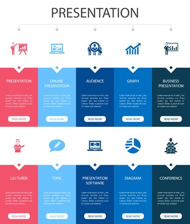 presentation Infographic 10 steps UI design.lecturer, topic, business presentation, diagram simple icons