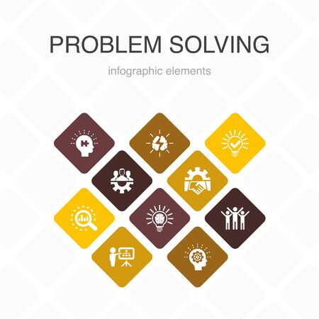 problem solving Infographic 10 option color design. analysis, idea, brainstorming, teamwork simple icons
