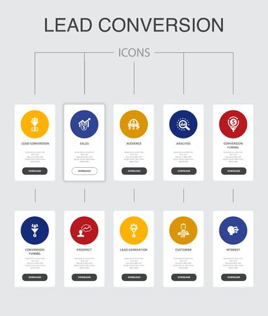 lead conversion Infographic 10 steps UI design.sales, analysis, prospect, customer simple icons