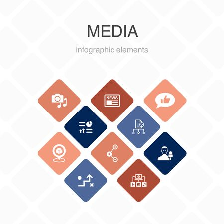 media Infographic 10 option color design.news, reporter, Infographics, media plan simple icons Illustration