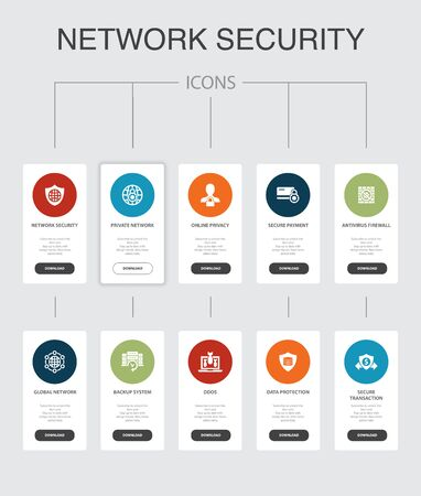network security Infographic 10 steps UI design.private network, online privacy, backup system, data protection simple icons